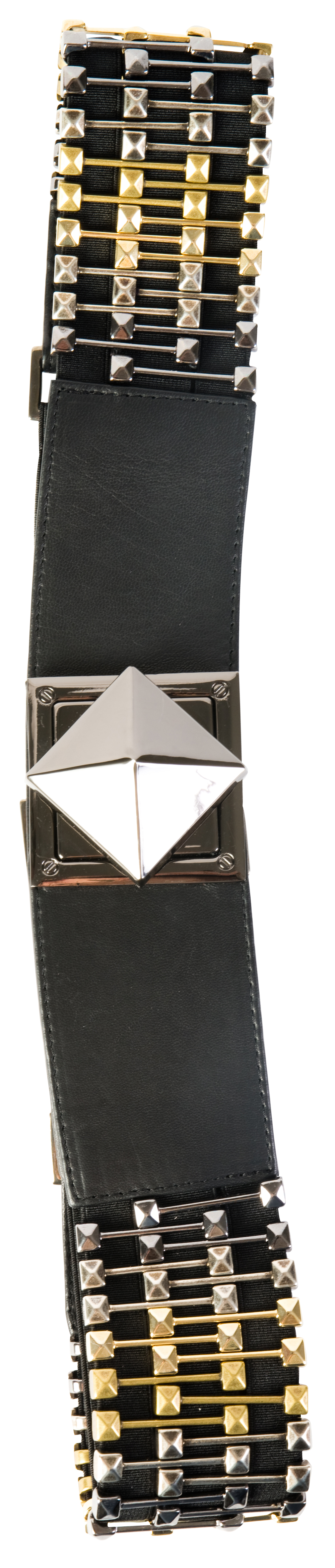 Suzi Roher stretch leather belt with gold and silver hardware and a stud closure, $429 at Gwynn's of Mount Pleasant