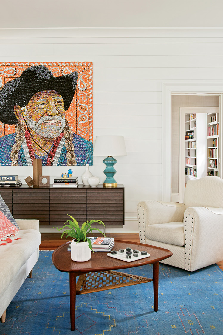 "A Molly B. Right portrait of Willie Nelson—dubbed ""Bottlecap Willie"" by Sam-—presides over the scene."