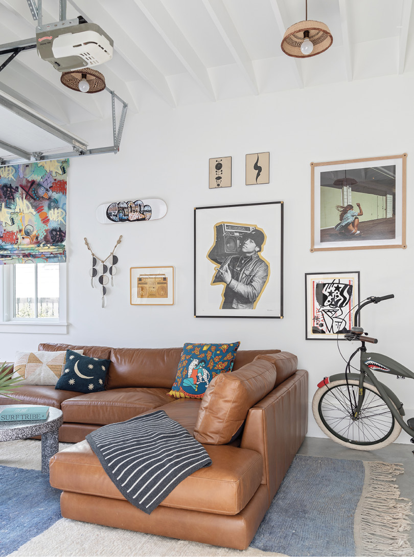 Throw in some bespoke Dear Keaton lights made from African baskets and a stylized photo of LL Cool J from Heart of Gold Gallery, and it's the coolest room on the block.
