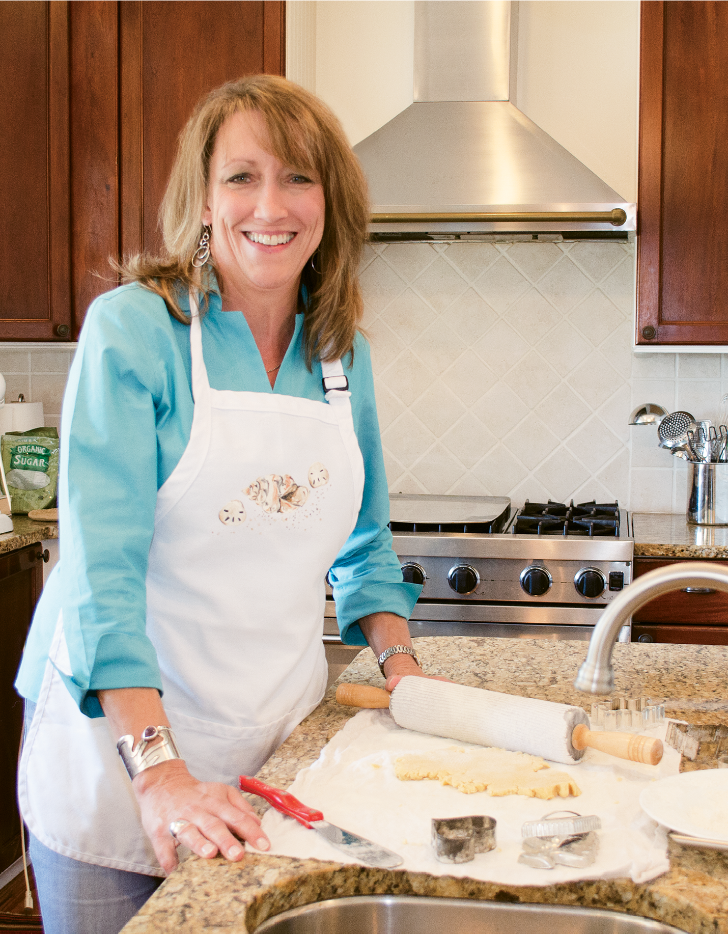 Katherine Frankstone of Grey Ghost Bakery in her kitchen at home
