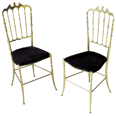 Italian solid brass Chiavari chair, $1,303, at  Regina Garcia Design LLC