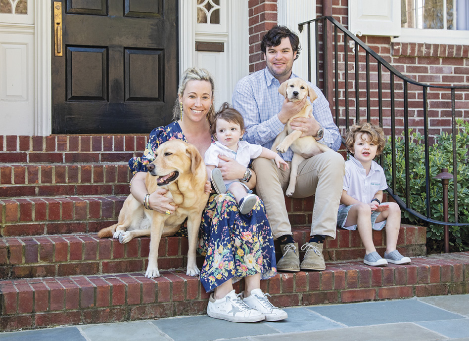 Cate and Hugh Leatherman, their two boys, four-year-old Hicks and Tucker, and two Labs