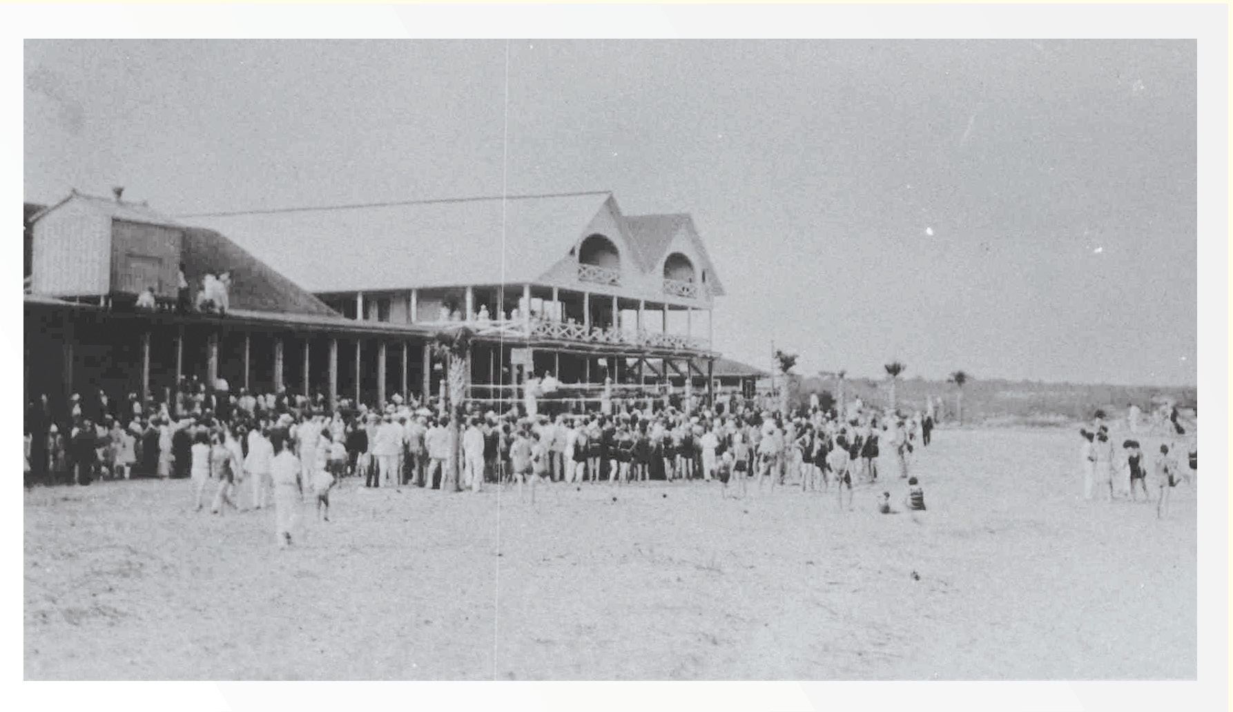 Activity on the Isle of Palms shore centered around three beachfront pavilions, anchored by the fishing pier—the longest in the Carolinas in the 1950s.