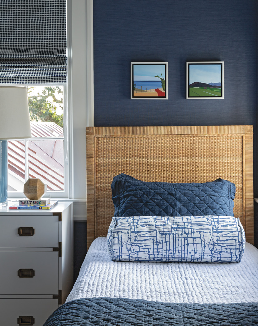 COOL BLUES: In the main house, the boys' bedroom bucks the white trend with a Philip Jeffries vinyl wall covering that's a cinch to wipe clean.