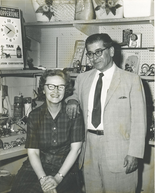"""Beach store owner """"Mr. John"""" Chrysostom with his wife, Rachel, who was a pharmacist in the shop"""