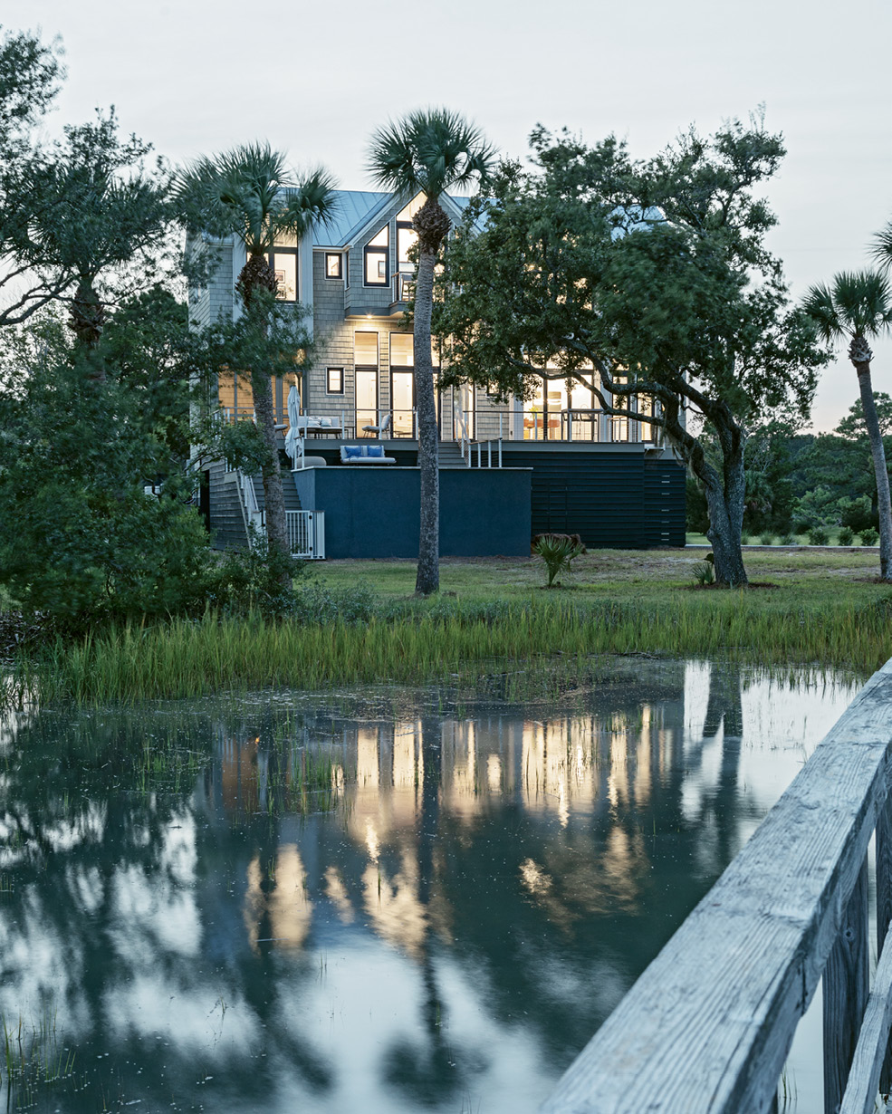 A newly built dock provides easy access to the marsh and extends toward the Atlantic Ocean.