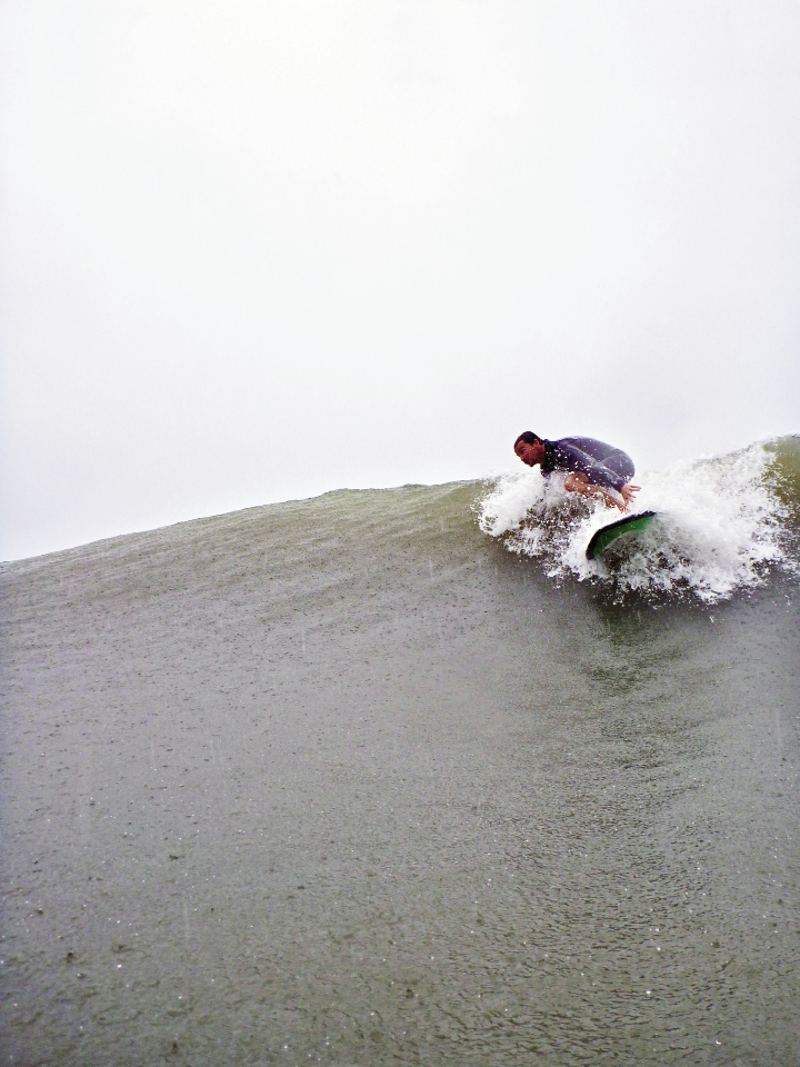 Chris Brown prepares for an offshore drop.