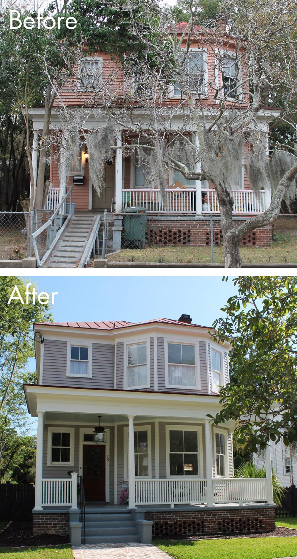 Before & After photos inside and out