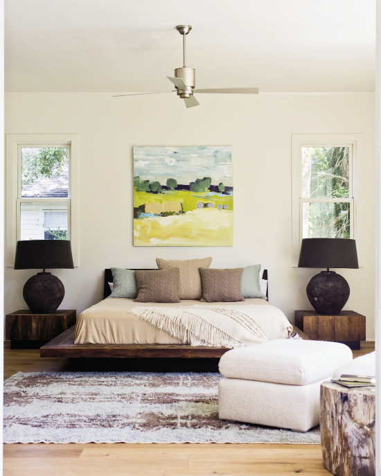 The peroba wood platform bed&side tables are by Environment, painting is by Anne Keane through the Charleston Artist Collective