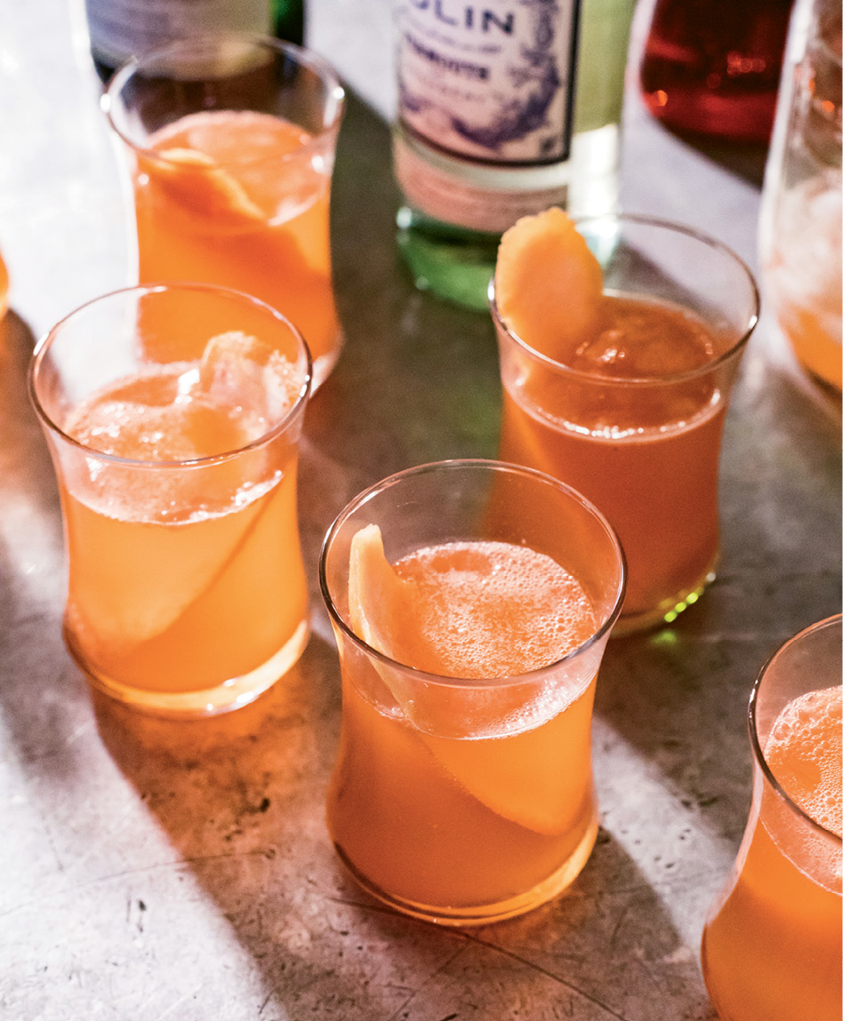 For cocktails, the restaurateur riffs on The Park Cafe's classic Aperol breakfast beverage, trading orange juice for grapefruit juice.