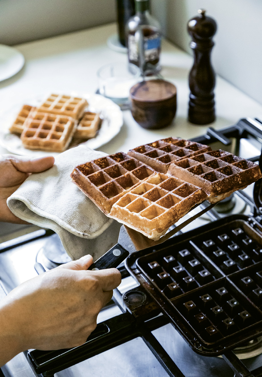 """I use a vintage-ish Nordicware cast iron waffle iron I got on eBay. It's one of my favorite pieces of cookware,"" says Wong. ""I love crumble. I try to put it on everything."""