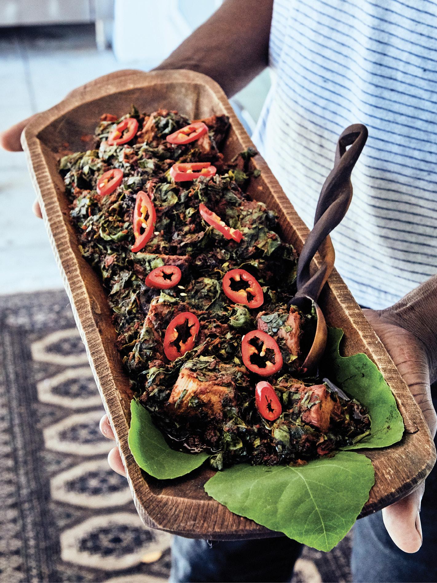 Efo riro, a Yoruba-style spinach stew