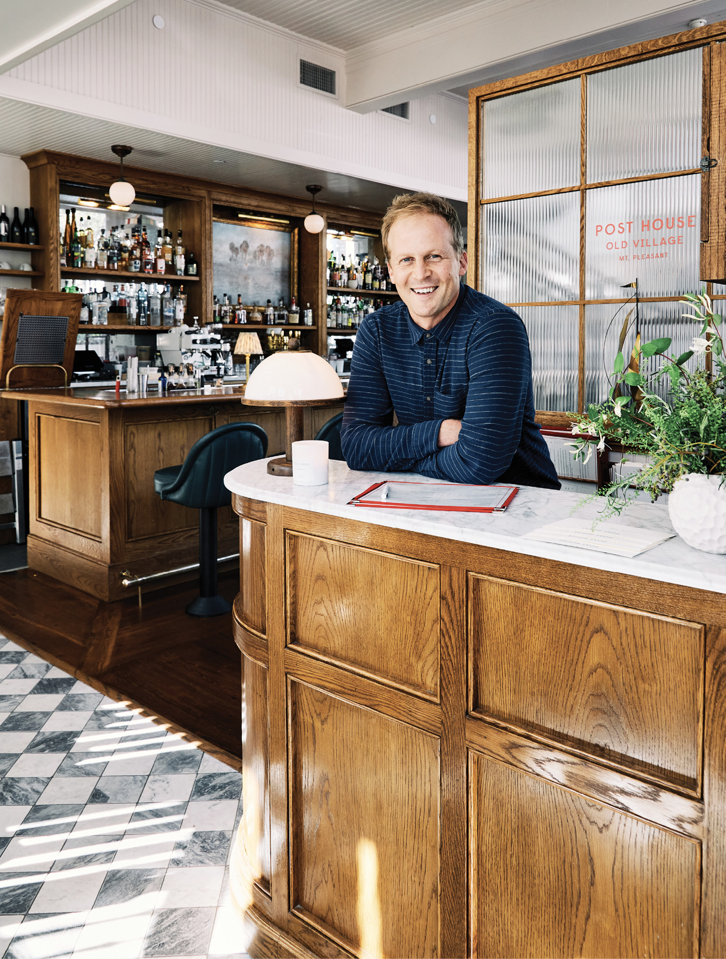 "The Post House lives on as ""a restaurant with rooms above—a very English vision,"" says Ben. As such, both dining and overnight guests check in at a tidy reception desk just inside the front door."