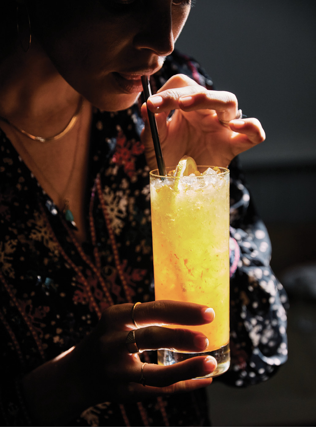 "Kate's go-to sipper, an iced ""Health Insurance,"" blends local turmeric, lemon, and honey with a ginger and cayenne kick."