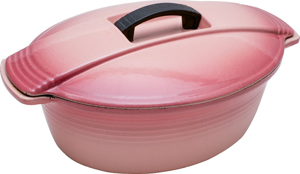 "Oval Dutch oven from the 1988 ""Futura"" range created in collaboration with French actor Jean-Louis Barrault"