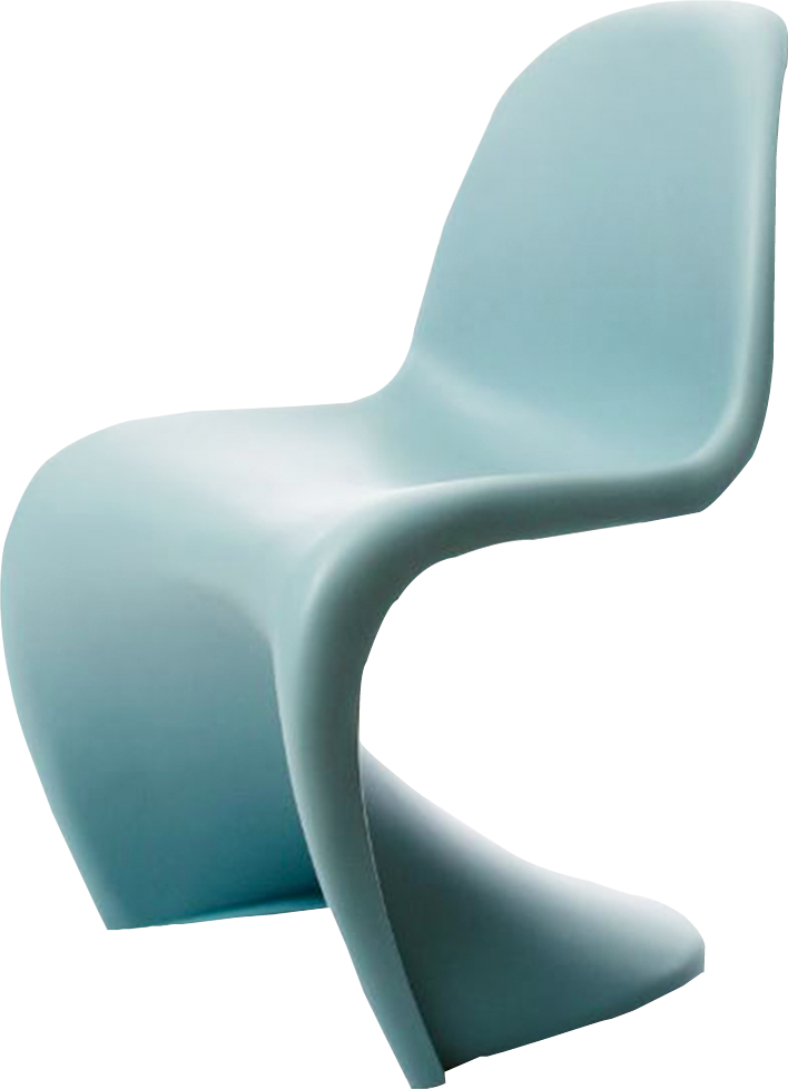"""Panton"" chair in ""ice blue"" by Vitra, price upon request at Carolina Business Interiors"