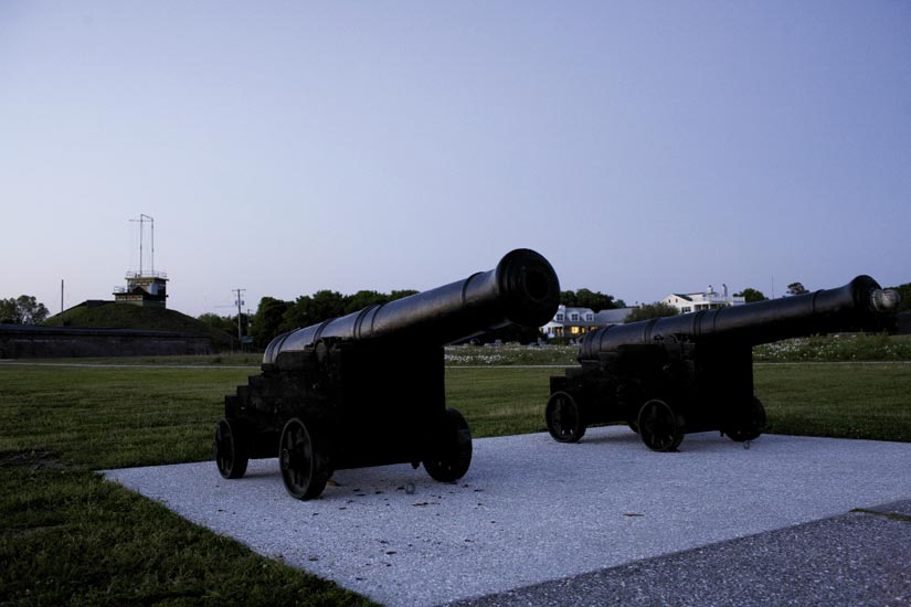Take a stroll on Fort Moultrie's hallowed, historic grounds and get a great view to the peninsula beyond.