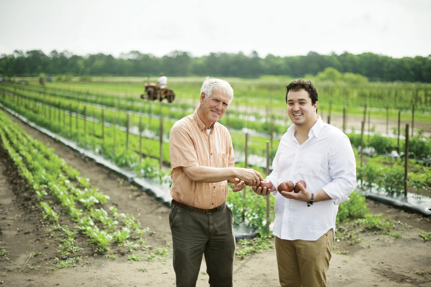 FIG chef Jason Stanhope, right, with farmer Pete Ambrose