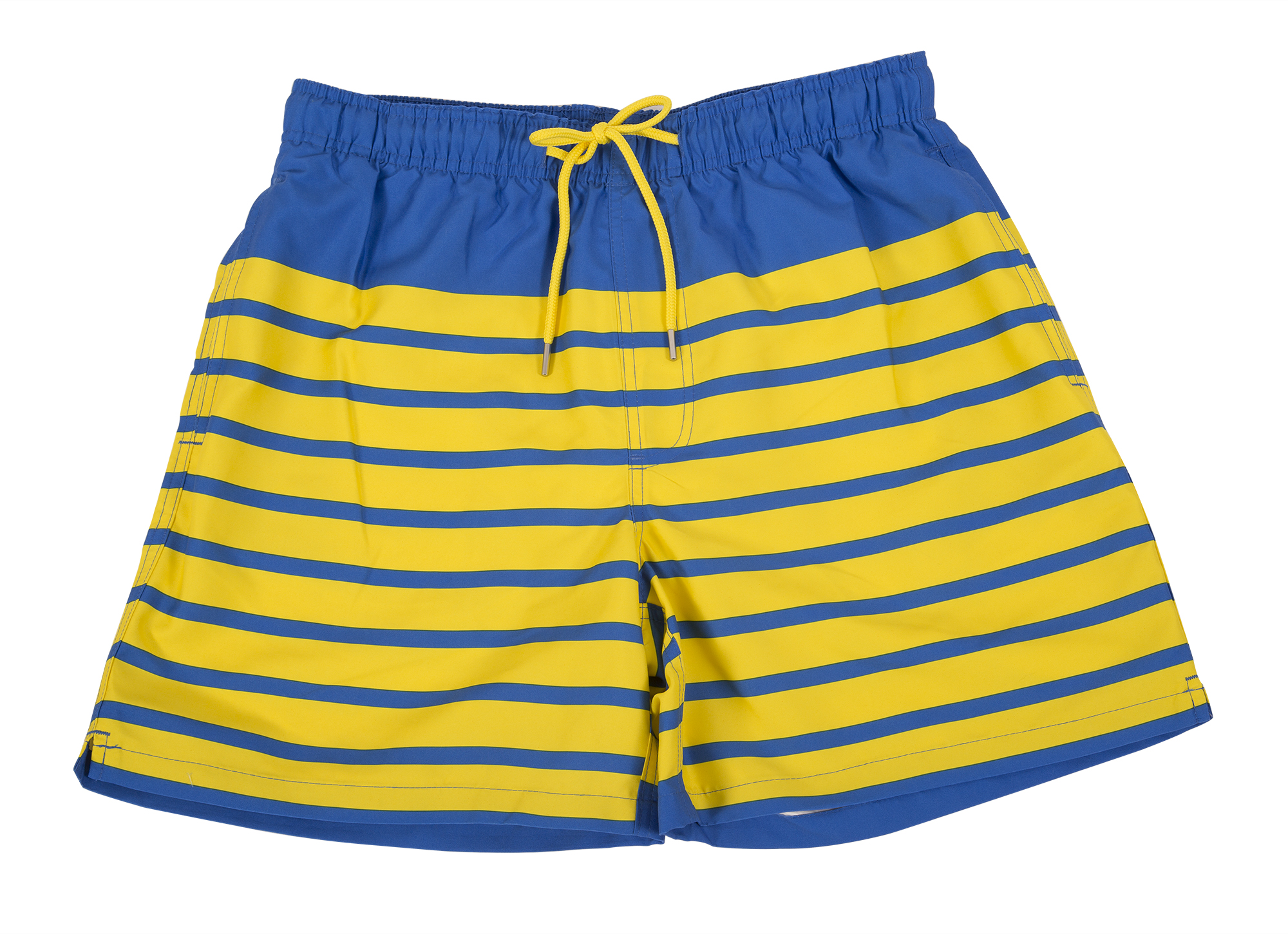"Southern Tide ""For Shore Stripe Swim Trunk"" in ""royal blue and vibrant yellow,"" $85 at M. Dumas & Sons"