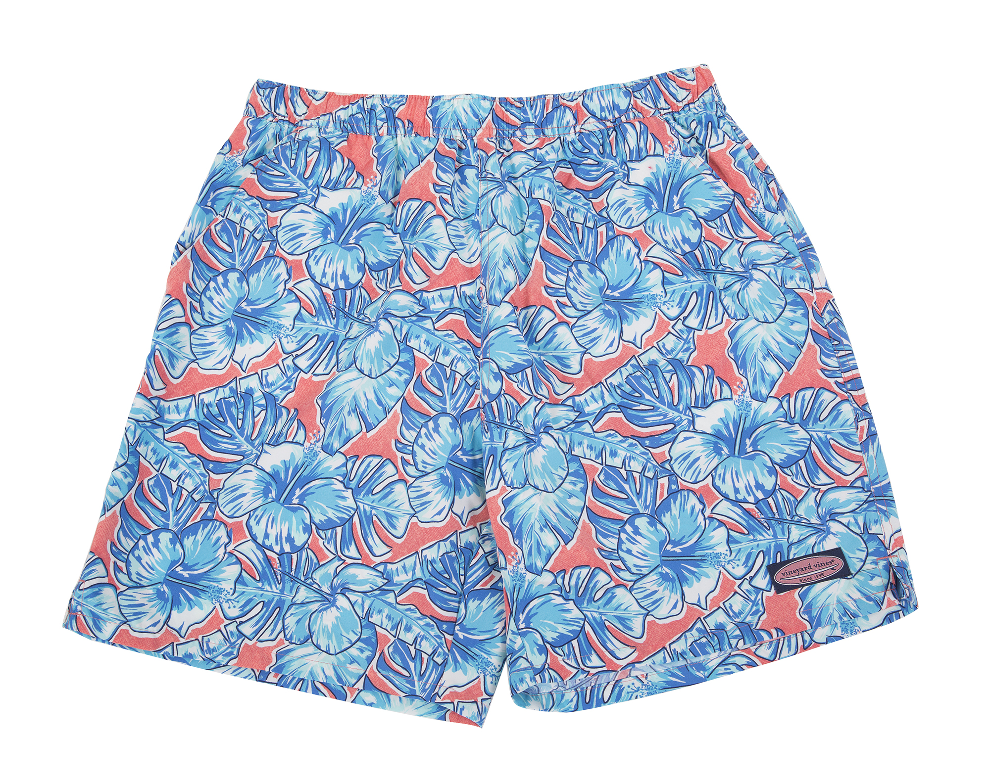 "Vineyard Vines ""Coastal Floral Chappy Trunk"" in ""lobster reef,"" $90 at M. Dumas & Sons"