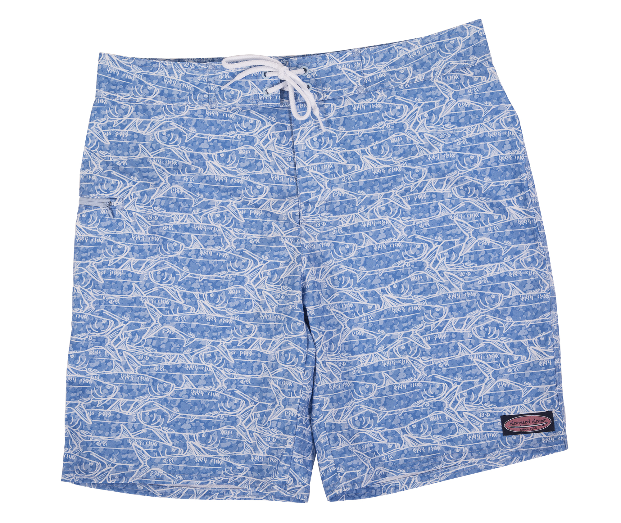 "Vineyard Vines ""School of Tarpoon Boardshort"" in ""jake,"" $90 at M. Dumas & Sons"