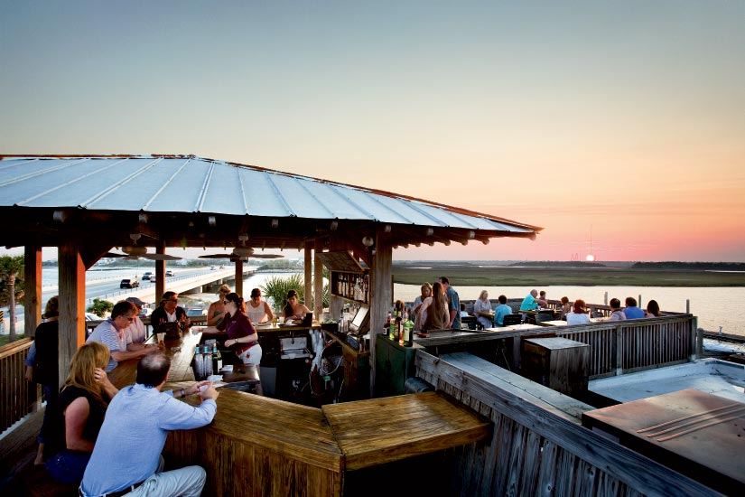 Sunset at The Boathouse at Breach Inlet's rooftop Crow Bar
