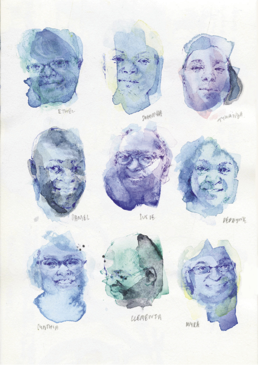 The Emanuel AME Nine: Ethel Lance, The Rev. Sharonda Coleman-Singleton, Tywanza Sanders, The Rev. Daniel Simmons Sr., Susie Jackson, DePayne Middleton-Doctor, Cynthia Hurd, The Rev. Clementa Pinckney, and Myra Thompson (watercolor by Jia Sung)