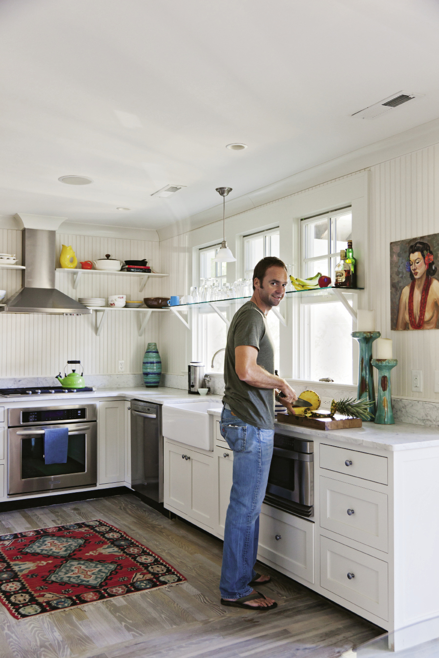 Fresh take: Colin Regan's interior renovation includes addition of a built-in window seat (left)