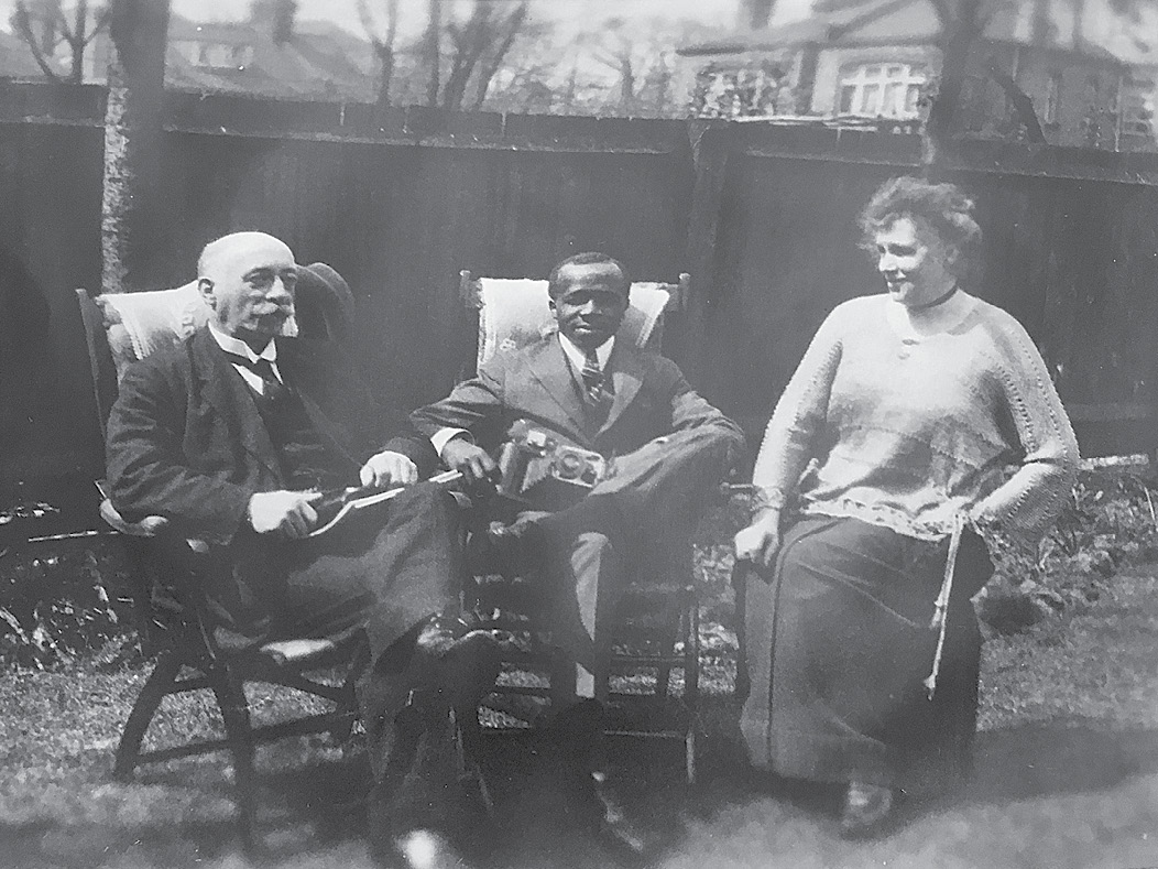 With the parents of fellow student Winifred Small at their north London home, circa 1920