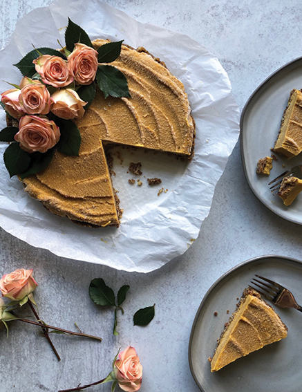 Pumpkin-coconut pie with a walnut crust