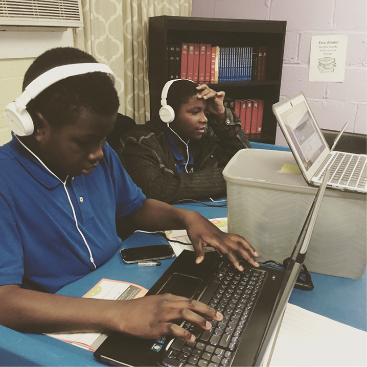 Neighborhood kids learn computer coding skills on Wednesdays.
