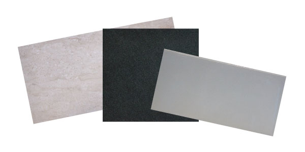 """Shell"" natural porcelain 12"" x 24"" tile, $4.25 per square foot, at  Palmetto Tile; ""Absolute Black"" polished granite countertop,  $60-$75 per square foot, at Atlantic Stone, LLC; and white porcelain 3"" x 6"" subway tile, $2.25 per square foot, at Palmetto Tile"