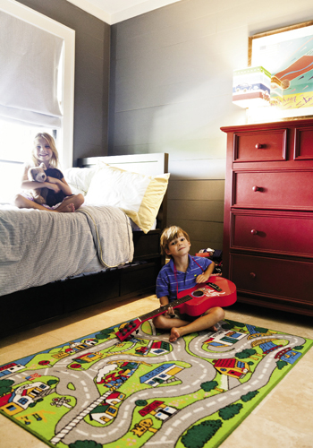 Down Under: The ground-floor suite includes twins DeLacy and Logan's bedrooms.