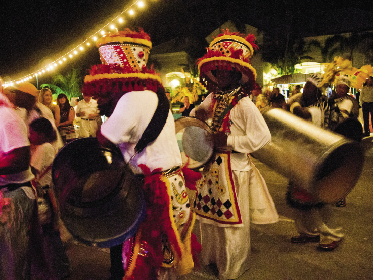 A Bahamian Junkanoo parade fills the Exumas' night with music and color.