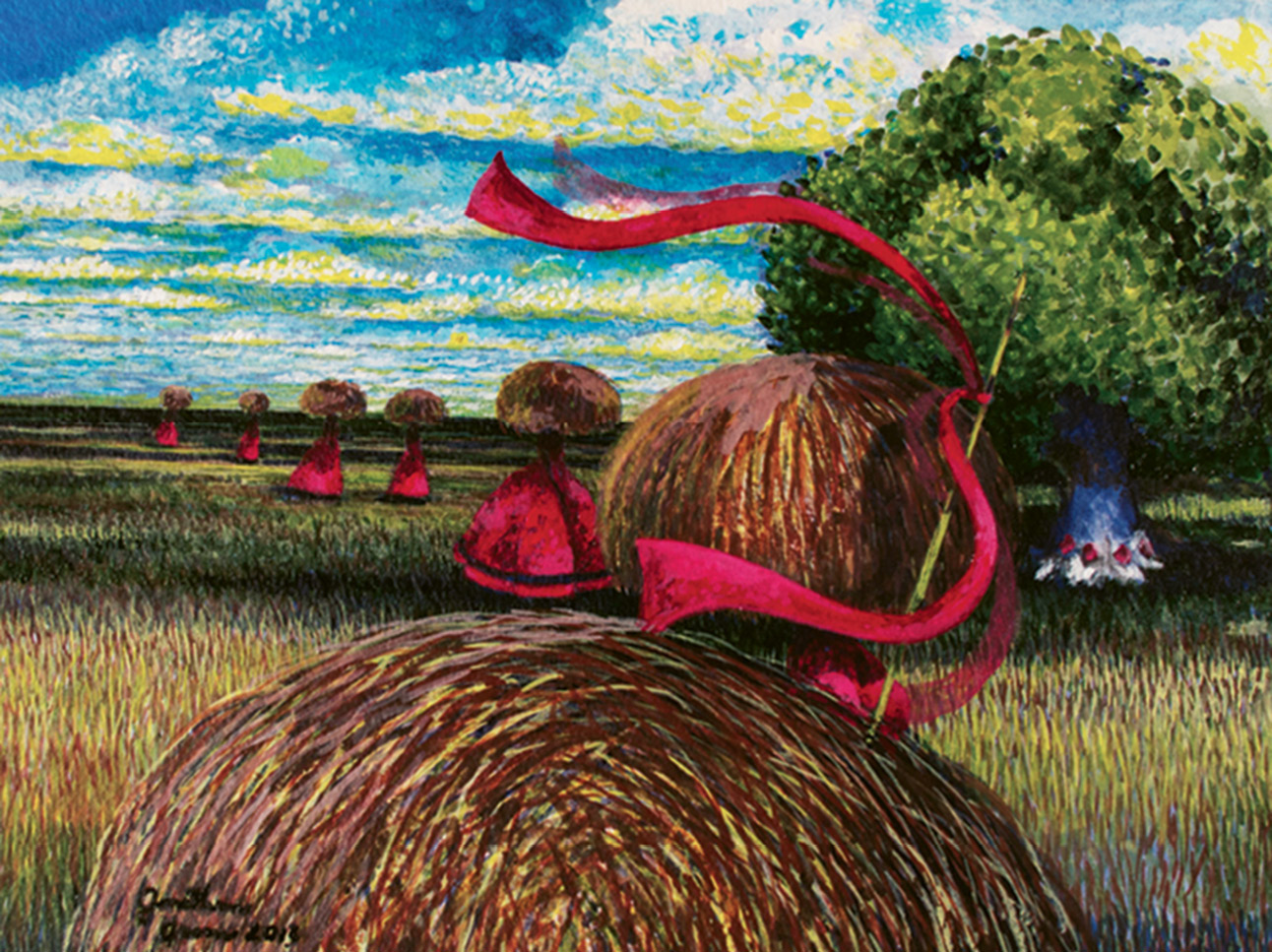 Rice Carriers (acrylic on watercolor, 11 X 14 1/2 inches, 2012)