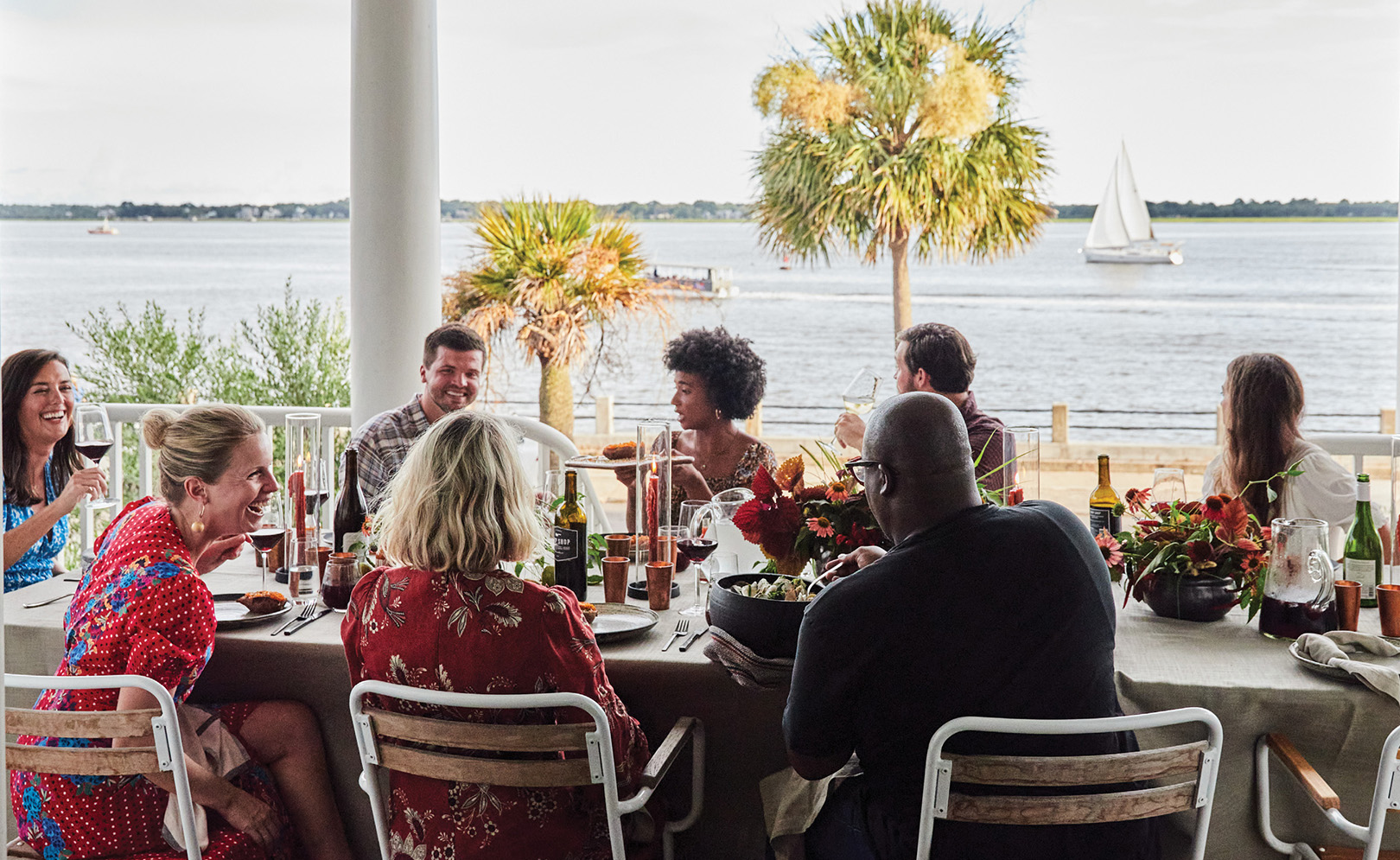 With its Charleston Harbor vantage and welcome breezes, Molly and Ted Fienning's front porch makes a cool spot for a hot (sauce) party.