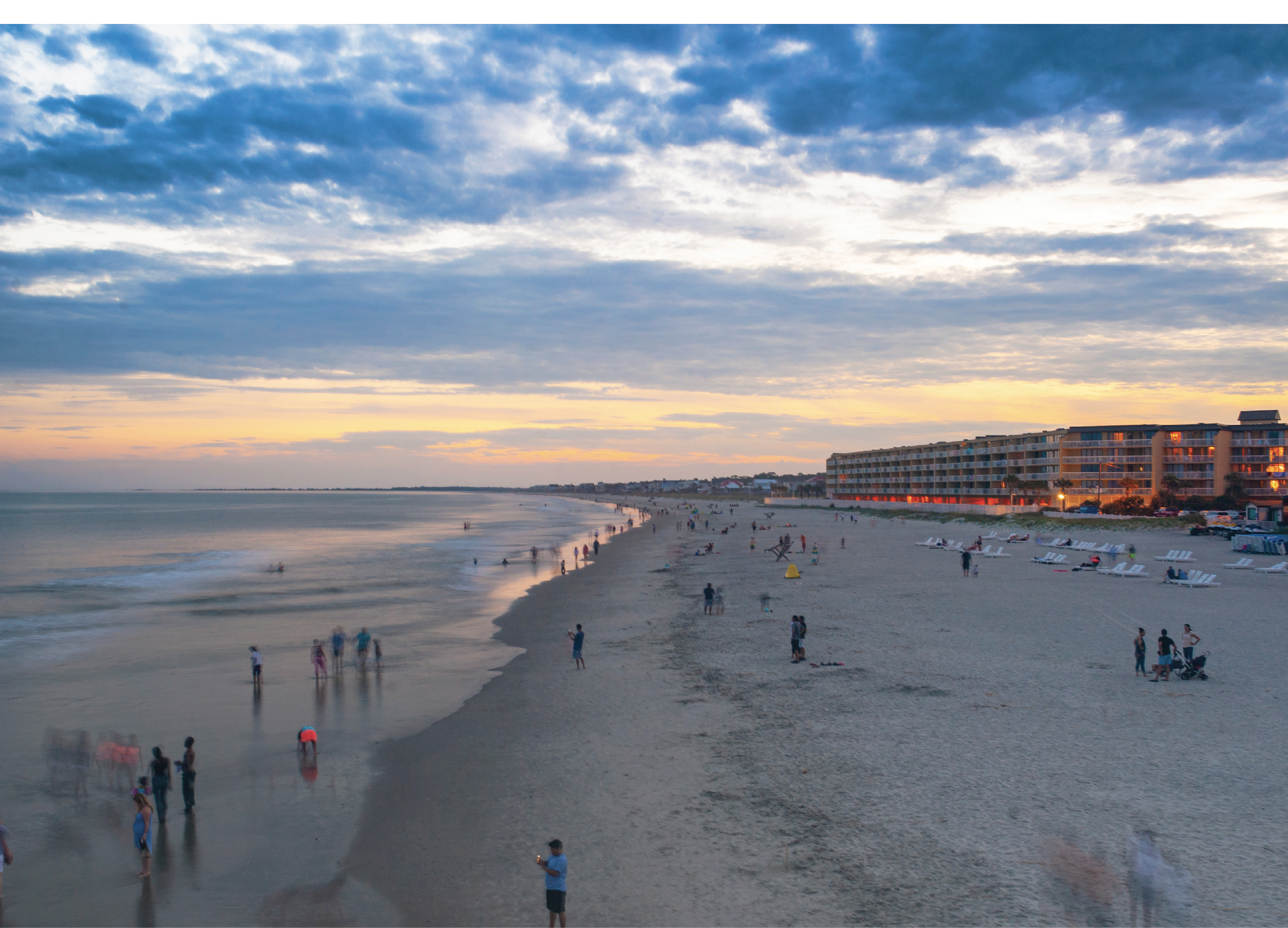 With front beach hotel and condo accommodations and an array of restaurants, bars and shops, Folly Beach (pictured above last July) welcomes visitors seeking relaxed, salty fun at the Edge of America.