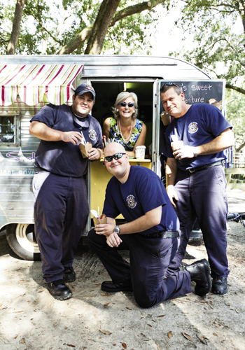 local firemen visit for a sweet treat
