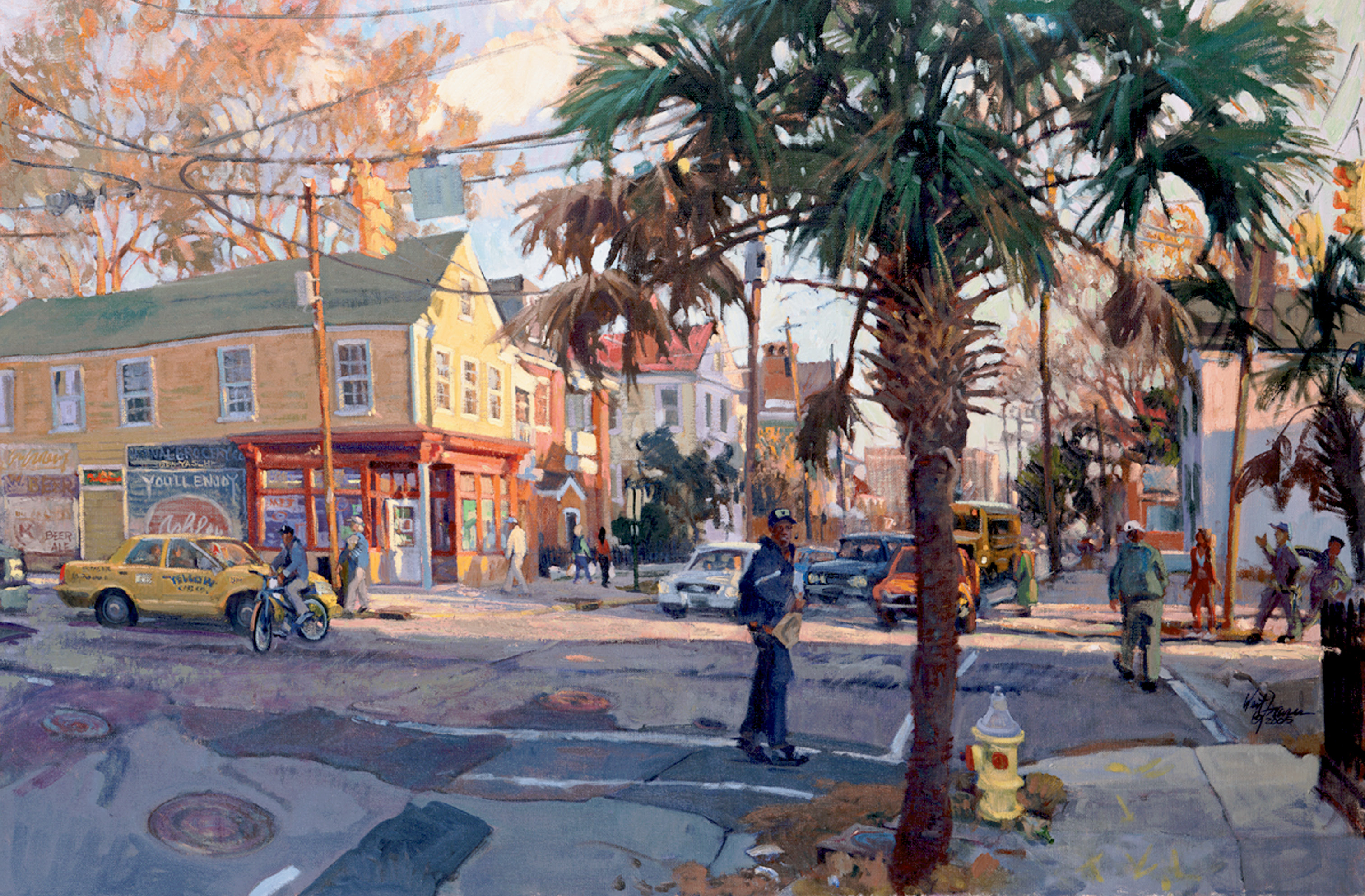 Spring Street's Happening (Charleston, South Carolina; oil; 24 × 36 inches; 2005; collection of Lois and Jim Turnipseed)