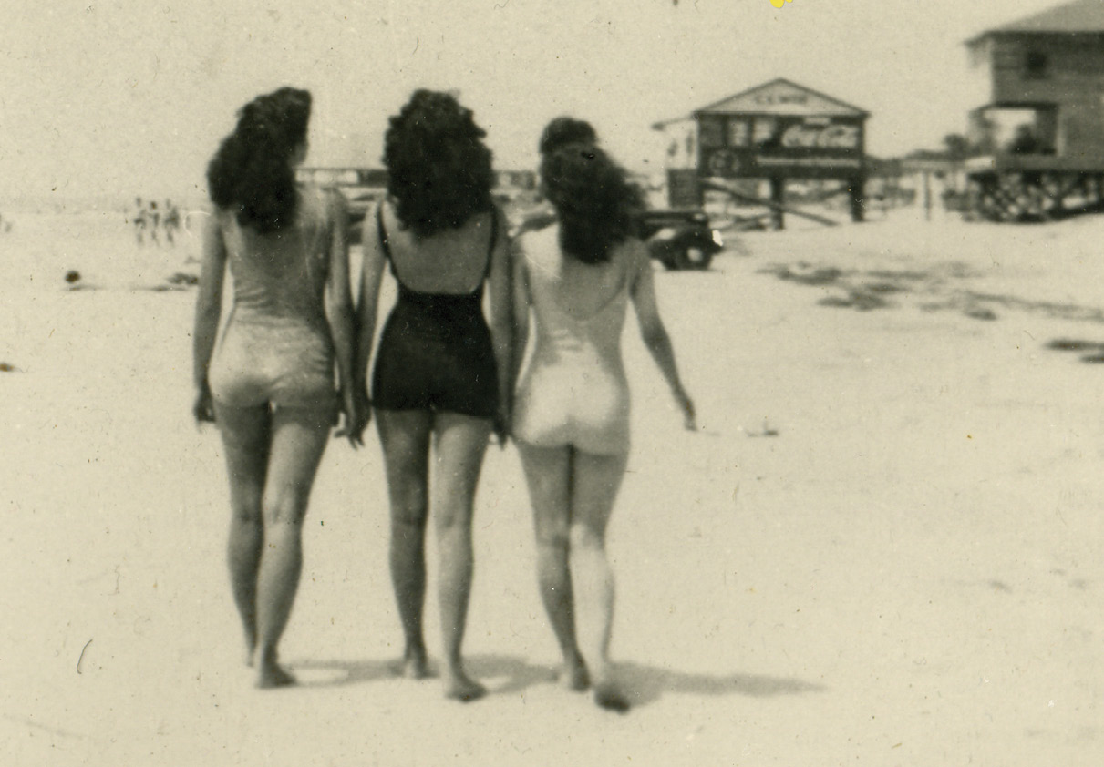Marguerite Strickland Stith (center) with sister Rosie and a friend walking on Folly Beach, circa 1950