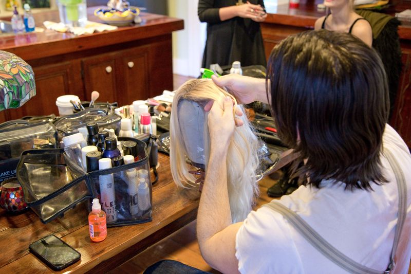 Cash Lawless, for Magnet NY, prepping the wig using Bumble and Bumble; photo by Mac Kilduff