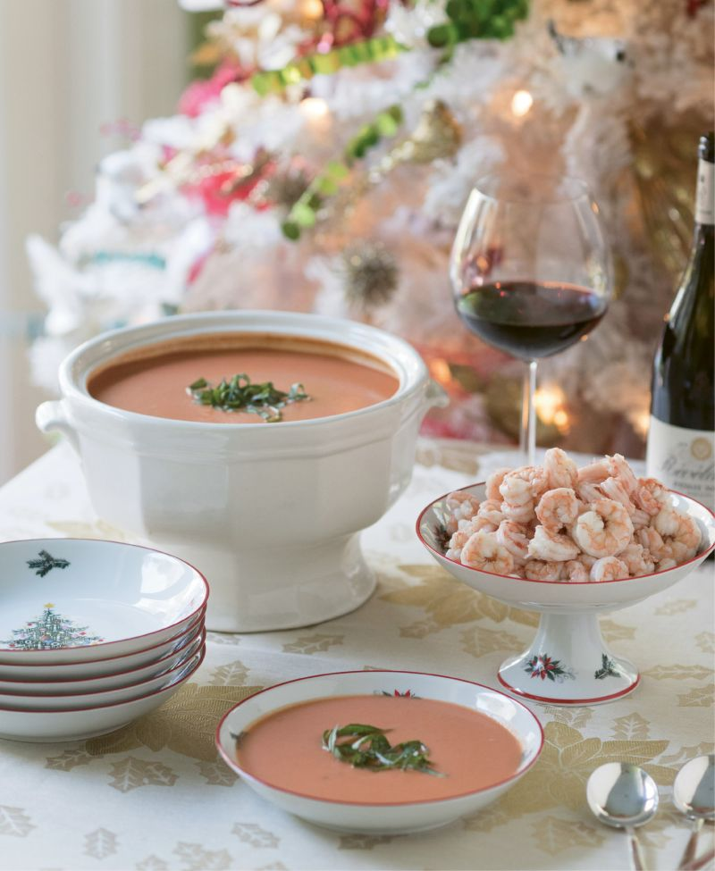 Velvety tomato bisque can be served on its own, or topped with chilled local shrimp (Austin's father catches his own off Edisto Island every summer) for a Lowcountry spin.