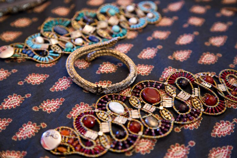 Serpent cuff and beaded bracelets from RTW; photo by Mac Kilduff
