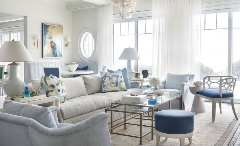 Leah and Gee Aldridge spent a decade planning and collecting for their custom beach house on Kiawah Island. The interiors are peppered with meaningful mementos, such as the painting by artist Eric Zener that the couple found in a Boston gallery and now hangs over the banquette.