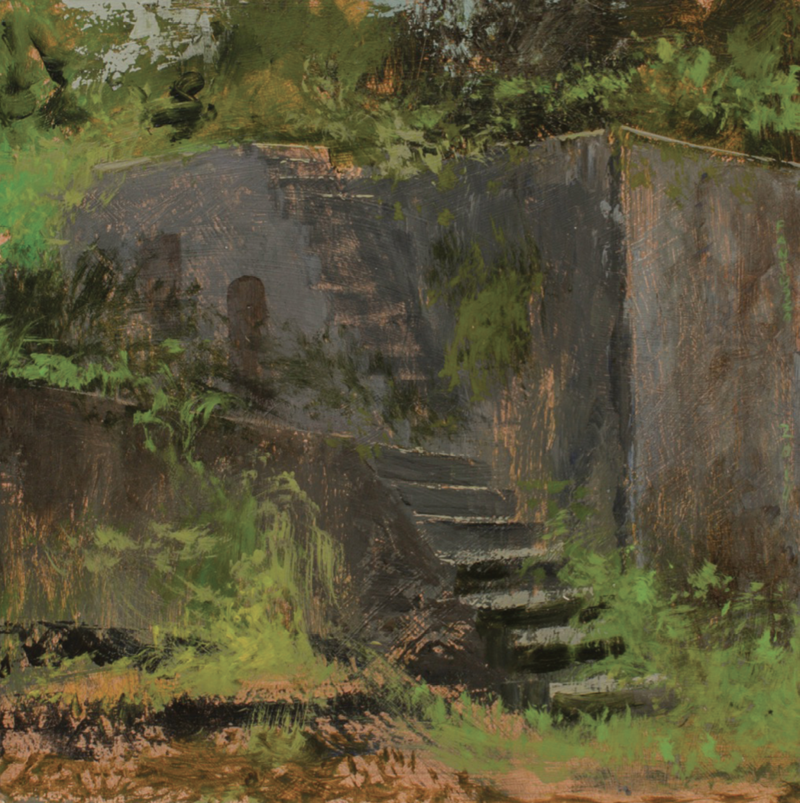 Stairs at the Fort (acrylic on birch panel, 12 x 12 inches, 2014)