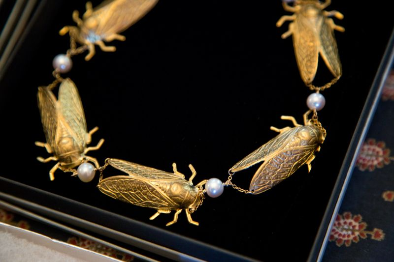 Gold bug and pearl necklace from Croghan's Jewel Box; photo by Mac Kilduff
