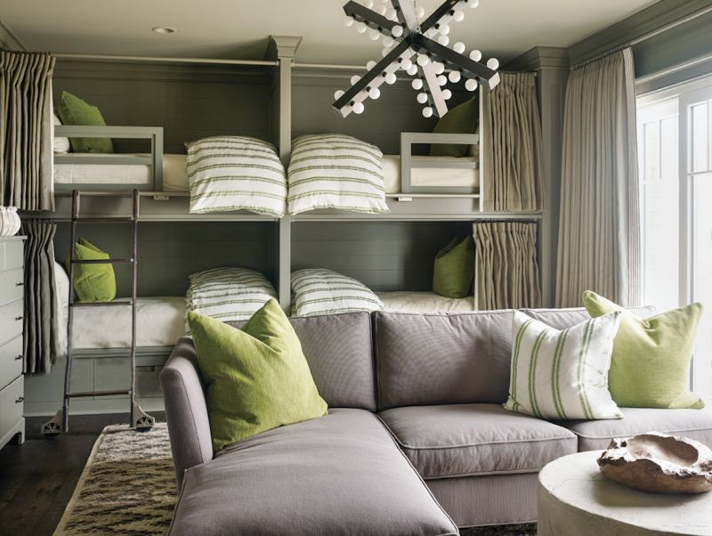 "Lime Aid - This bunk room's cool comforts include the slate grey walls, shag Moroccan carpet, and pops of lime green.  Location: Kiawah Island (owned by Leah and Gee Aldridge) Issue: July 2018,  ""Style & Substance""  Photographer: Emily  Jenkins Followill"