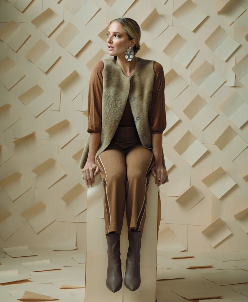 "Khaki Club - Velvet by Graham & Spencer ""Camilla"" cotton top, $128 at Copper Penny; Fabiana Filippi vest, $3,348 at fabianafilippi.com; Veronica Beard ""Cormac"" herringbone trousers with side stripes, $475 at Gwynn's of Mount Pleasant; Sheila Fajl ""Nicholas"" earrings, $92 at Rhodes Boutique; Stuart Weitzman ""Landry 75"" nappa leather booties in ""Adobe Beige,"" $595 at Gwynn's of Mount Pleasant"