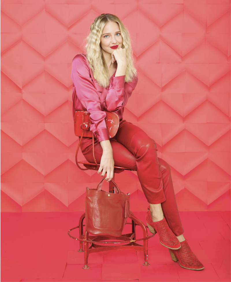 """Red Hot - Seventy silk blouse in """"berry,"""" $216 at Out of Hand; Escada """"Lakera"""" leather pants in """"Roobios,"""" $1,495 at Gwynn's of Mount Pleasant; Maris DeHart satin headband in """"burgundy,"""" $28 at Maris DeHart; Jeffrey Campbell """"Vanhook"""" red suede booties, $170 at Shoes on King; Il Bisonte red vachetta leather shoulder bag, $380 at RTW"""