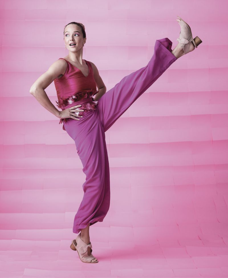 """Tickled Pink - Gretchen Scott silk dupioni tank in """"shocking pink,"""" $60 at Gretchen Scott; TCEC high-rise, wide-leg pants in """"magenta,"""" $41 at Tres Carmen; Sara Roka feather and grosgrain belt, $290 at Finicky Filly; Spartina 449 """"Bar"""" earrings in """"gold/blush,"""" $32 at Spartina 449; Bernardo """"Luna"""" suede sandals in """"blush,"""" $198 at Shoes on King"""